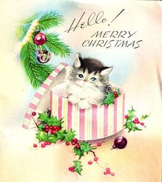 Vintage Christmas Card Kitten Present Ornaments Holly
