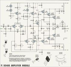 Power Amplifier with & - Electronic Circuit Valve Amplifier, Audio Amplifier, Speakers, Electronics Basics, Electronics Projects, Radios, Solar Inverter, Circuit Diagram, Electronic Circuit