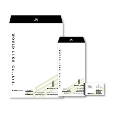 WOULD LIKE-東京の不動産会社のロゴデザイン Collateral Design, Brand Identity Design, Stationery Design, Branding Design, Ci Design, Tool Design, Paper Design, Business Envelopes, Business Cards