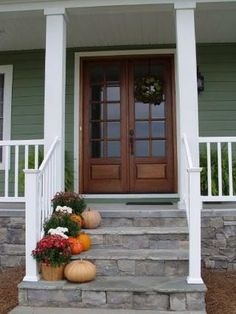House Front Steps Columns For 2019 Front Porch Steps, Front Stairs, Farmhouse Front Porches, Porch Columns, Porch Stairs, Porch Doors, Front Porch Design, Front Entry, Gazebo
