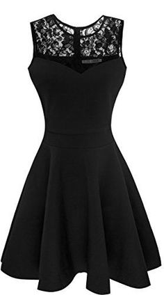 Heloise Fashion Womens A-Line Pleated Sleeveless Little Cocktail Party Dress With Floral Lace