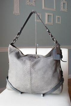 19039 Coach Katarina Exotic Snakeskin Gray Blue Leather Hobo Handbag $598 #Coach #ShoulderBag