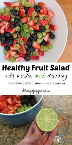 Healthy Fruit Salad with Vanilla Mint Dressing no added sugars made with lime juice fresh mint leaves and vanilla Chicago Jogger Healthy Fruits, Healthy Salads, Fruits And Veggies, Healthy Eating, Healthy Recipes, Healthy Fruit Desserts, Mint Recipes, Healthy Sugar, Recipes With Fresh Mint