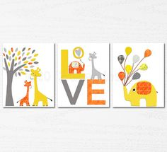 ORANGE and yellow Nursery Art Print Set 8x10 Kids by SugarInspire, $39.95