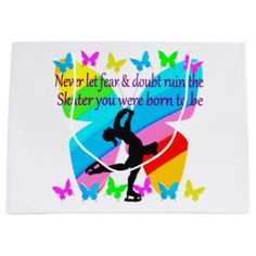 NO FEAR JUST FAITH FIGURE SKATING BUTTERFLY DESIGN LARGE GIFT BAG Beautiful figure skating designs for your Ice Princess. http://www.zazzle.com/mysportsstar/gifts?cg=196621838645756107&rf=238246180177746410 #figureskating #Figureskater #Figureskatinggifts #BorntoSkate #Loveskating