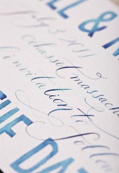 Close up of Save the Date calligraphy