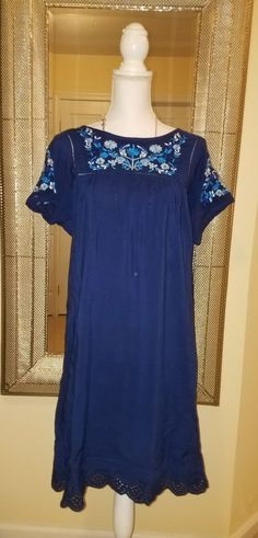 Catherine Malandrino Navy Embroidered Short Sleeve Dress Size Medium NWT | Clothing, Shoes & Accessories, Women's Clothing, Dresses | eBay!