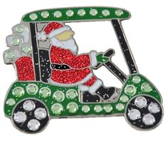 Santa's Golf Cart Navika Swarovski Crystal Ball Marker with Visor Clip #lorisgolfshoppe