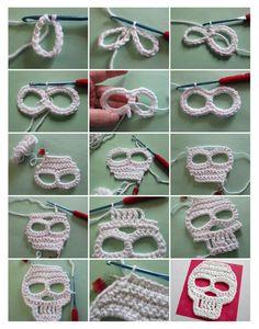 Calavera Crochet Skull Patterns, Halloween Crochet Patterns, Crochet Patterns Amigurumi, Granny Square Crochet Pattern, Crochet Motif, Crochet Stitches, Crochet Hooks, Crochet Crafts, Crochet Projects