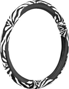 "Custom & Unique {Universal 14.5 to 15.5"" Inch Fit} Smooth Grip ""Fitted"" Steering Wheel Protector Cover Made of Leather Cloth with Zebra Stripes Design {Focus Black and White Colored}"