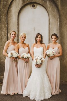 blush pink bridesmaid dresses - Divine look, this is my fave nude colour, they all look stunning great Photo's of her day, stunning location xox