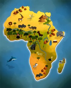 A map of Africa's animals out of an atlas book for Auzou Editions. Safari Adventure, Adventure Tours, African Safari, African Art, Atlas Book, World Thinking Day, Kids Study, Science Activities For Kids, African Countries