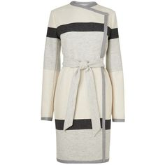 L.K. Bennett Halle Stripe Coat, Black / White ($525) ❤ liked on Polyvore featuring outerwear, coats, jackets, coats & jackets, long sleeve coat, l.k.bennett, long black coat, evening coat and long coat
