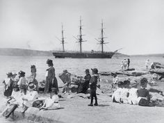 HMS Wolverine at anchor, seen from Mrs Macquaries Point, Sydney Harbour, ca. The fourth Royal Navy ship to bear the name Wolverine, this wooden-screw corvette was launched in 1863 and sailed to Australia in 1881 Wales Beach, Coogee Beach, King Photo, Sydney City, Historical Pictures, Sydney Australia, View Image, Continents, Travel Pictures