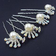 Bridal Wedding Bridesmaid Flowergirl Prom Beautiful Elegant Pearl Crystal Peacock Hair Pins Sticks [PACK OF 4] ** More info could be found at the image url. (Amazon affiliate link)