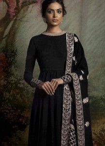 Exceeding Embroidered Work Black Banglori Silk Floor Length Anarkali Suit
