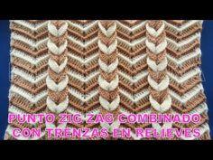Punto a Crochet Trenzas en Relieves combinado con punto Zig Zag para Cobijas de Bebe - YouTube
