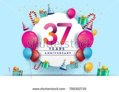 37th years Anniversary Celebration Design with balloons and gift box, Colorful design elements for banner and invitation card.