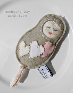 Mother's Day - ladyfinger doll with heart - made with love