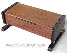 12 7 4   235  Decorative wood men's valet box - Handmade men's keepsake box made of Honduras rosewood, ebonized cherry