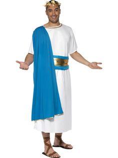 463b4fcfebbe Carnevale Costumi e accessori per Travestimenti · Abito Romano. Tunica  bianca con stola azzurra completa di corona di alloro oro. TG