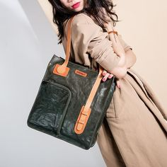 Handmade Vintage Top Grain Cow Leather Tote Bag For Women
