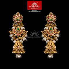 Gold Jewelry Kundan Gottupusalu Jhumkis - Earrings L : inches; W : inches Screw Type : Bombay Screw, Buy Earrings, Jewelry Design Earrings, Gold Earrings Designs, Gold Jewellery Design, Gold Jewelry, Earrings Online, Handmade Jewellery, Silver Earrings, Antique Earrings