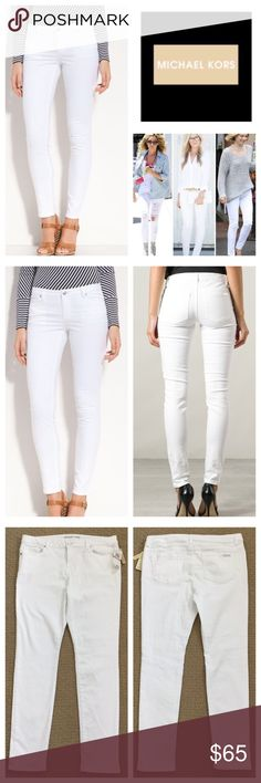 """Michael Michael Kors White Skinny Jeans.  NWT. Michael Michael Kors White Skinny Jeans, 98%. Orrin, 2% elastane, machine washable, 34"""" waist, 10"""" front, 16"""" back Rise, 29"""" inseam, 11.5"""" leg opening all around, silver tone hardware, five pockets, belt loops, Michael Kors silver tone metal tag on back pocket, measurements are approx.  NO TRADES MICHAEL Michael Kors Jeans Skinny"""