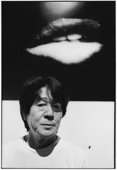 Daido MORIYAMA and beneath one his photo LIPS, Tokyo, 2003 #portrait