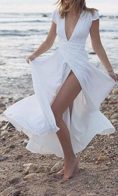 V neck white maxi Dress White Wrap Dress, White Maxi Dresses, Maxi Wrap Dress, Maternity Dresses, Elegant Dresses, Day Dresses, Beautiful Dresses, Formal Dresses, Long White Flowy Dress