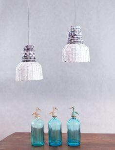 Small industrial lamp Pendant lamp Eco lofts hanging lamp Loft Style White Grey Kitchen lamp Minimal Paper lamp eco - Ele Mele