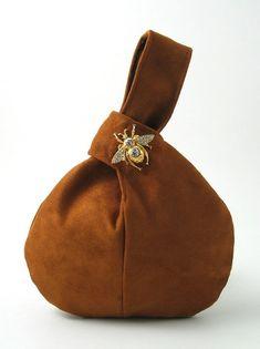 brown faux suede wristlet  bag decorated with crystal stones bee  broche, vegan purse, evening handbag, wristlet clutch