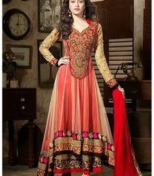 Buy Designer Red color Embroidered dress anarkali-salwar-kameez online