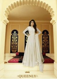 Chiffon Off White Colored Designer Floor touch Anarkali suit