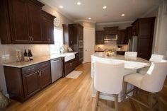 Kitchens & Baths | Photo Gallery | 3 Pillar Homes #Custom #Kitchen #CofferedCeiling #Ceiling #Island #Counters #Cabinetry #Lighting #Pantry #GreatRoom #HeavyTrim #Trim #Hardwood #Floor #Flooring #CustomHome #CustomDesign #Interior