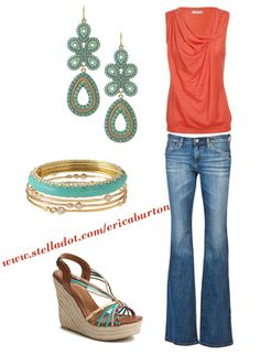 Love the combo of Coral and Turquoise!  Capri Chandelier Earrings: shop.stelladot.co...    Paige Enamel Braclet: shop.stelladot.co...    Devi Bangles: shop.stelladot.co...