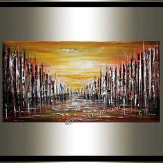 Goldene Stadt Kunst Stadtansicht Malerei Skyline Wand Kunst