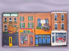 Hand Painted Bricks Baltimore Area Landmarks; 2910 on the Square, Baltimore gifts, Natty Boh, crabs, Baltimore Ravens, Hand-Painted Baltimore Rowhouse Bricks