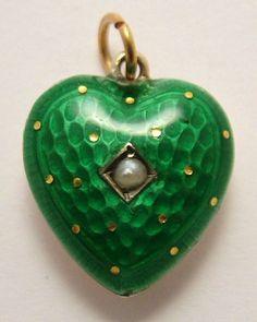 Victorian green enamel puffy heart charm