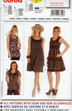 Burda 7659 Free Us Ship Flirty Summer Top Tank Dress Sewing Pattern Uncut New 8/20 Size 8 10 12 14 16 18 20 Bust 31 32 34 36 38 40 42 by LanetzLiving on Etsy