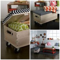 Getting Woodworking tools Crate Ottoman, Diy Ottoman, Home Projects, Home Crafts, Diy Home Decor, Building Furniture, Diy Furniture, Diy Storage, Planer