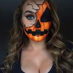 Halloween Pumpkin Makeup, Scary Halloween Pumpkins, Halloween Eye Makeup, Halloween Eyes, Halloween Makeup Looks, Diy Halloween Costumes, 1960s Halloween, Halloween College, Halloween Tumblr