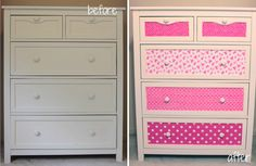Get fun paper cut it to the shape of your dresser and stick it on then you have a new funky dresser