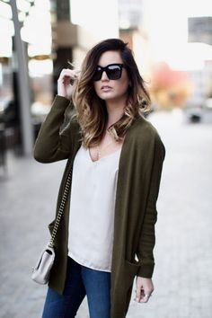 Neutrals + olive for a cozy, chic daytime look via For All Things Lovely | BP olive green cardigan, Sincerely Jules silk tank, J Brand denim, Valentino shoes, Chanel handbag, Michele watch, David Yurman bracelet stack + rings