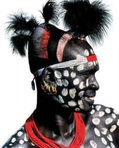 Karo Tribe Man with Chalk Spots - Omo Valley, Ethiopia by Carol Beckwith and Angela Fisher.