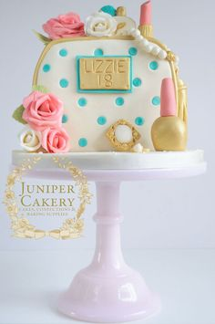 Love the colors! Cosmetics and jewels cake by Juniper Cakery