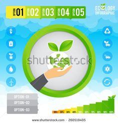 Eco infographic, Presentation template ecology concept vector illustration