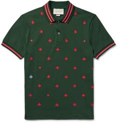 Gucci - Contrast-Tipped Embroidered Stretch-Cotton Piqué Polo Shirt 495 EUR. Mens Designer Polo Shirts, Mens Printed Shirts, Mens Polo T Shirts, Embroidered Polo Shirts, Pique Polo Shirt, Collar Shirts, Men's Polos, Men's Shirts, Dress Shirts