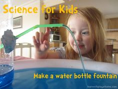 Science for Kids: Water bottle fountain. Instil a sense of awe and wonder in your students with this simple yet impressive science experiment. Air takes up space. Kid Science, Preschool Science, Science Experiments Kids, Science Classroom, Science Fair, Teaching Science, Science Activities, Educational Activities, Science Projects