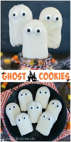 These easy ghost cookies are perfect for adding to cupcakes for Halloween parties.